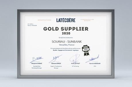 Souriau award Gold Supplier Latécoère