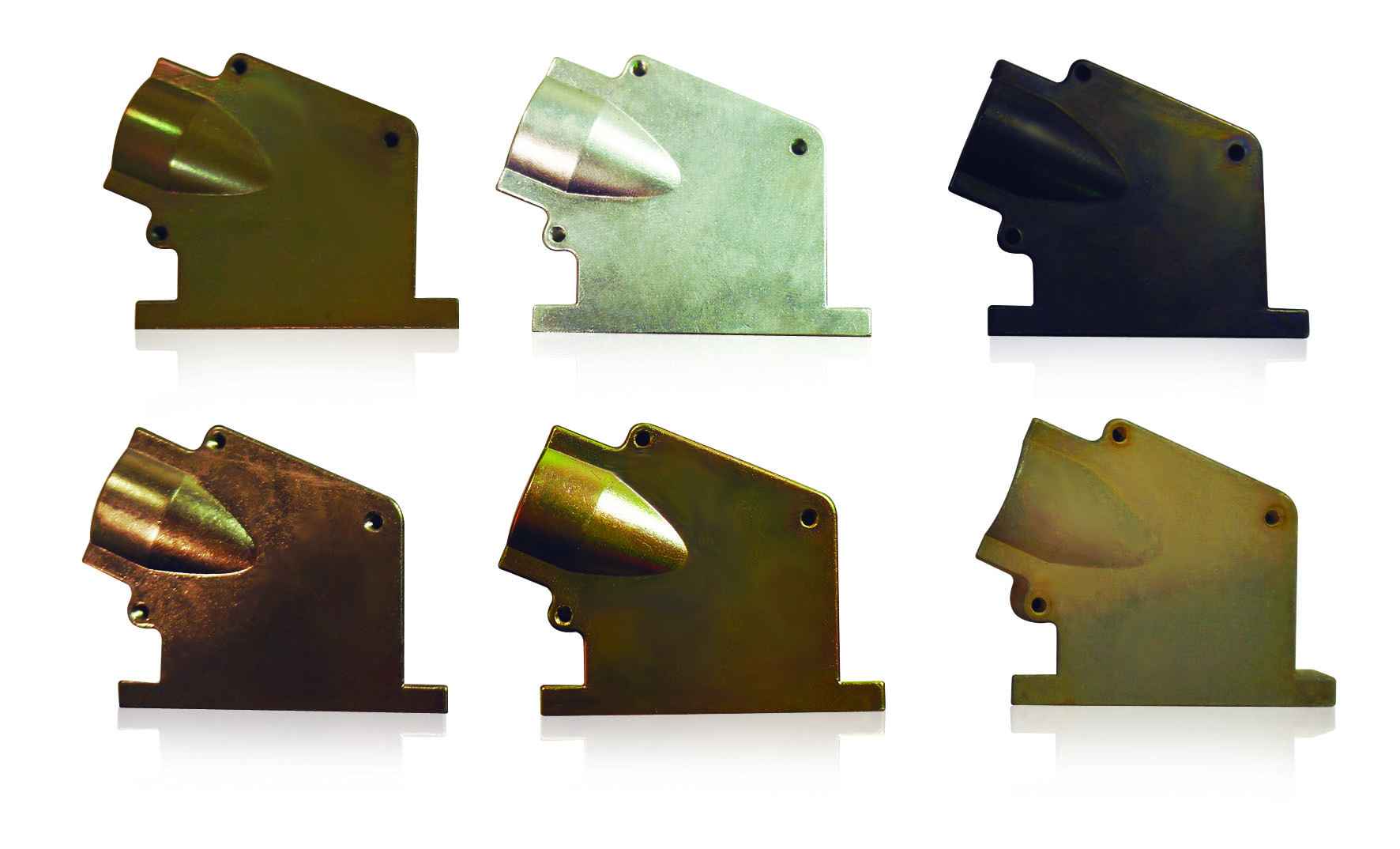 Six different surface finishes