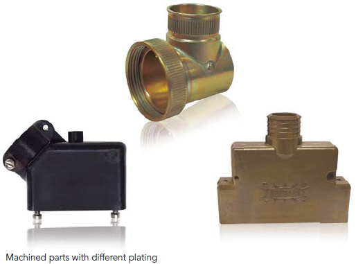 Machined parts with different plating